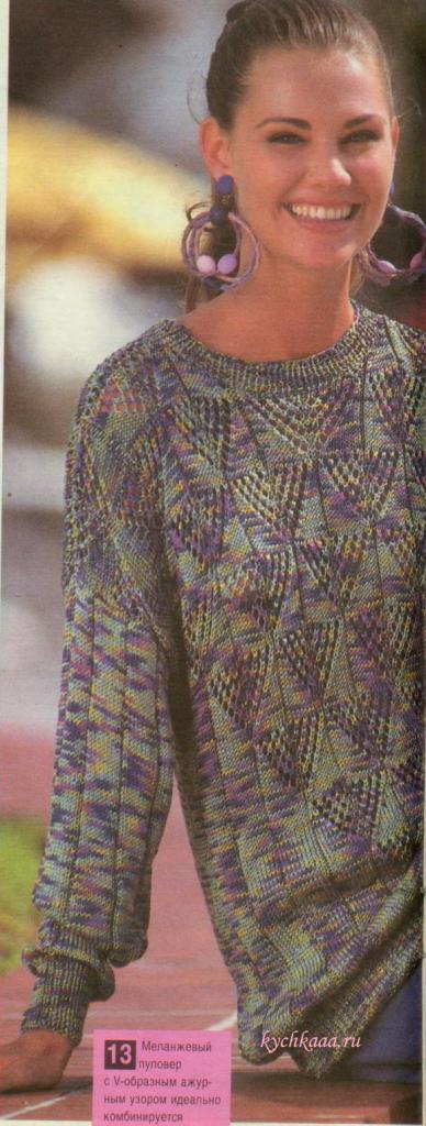 Вяжем ажурный пуловер