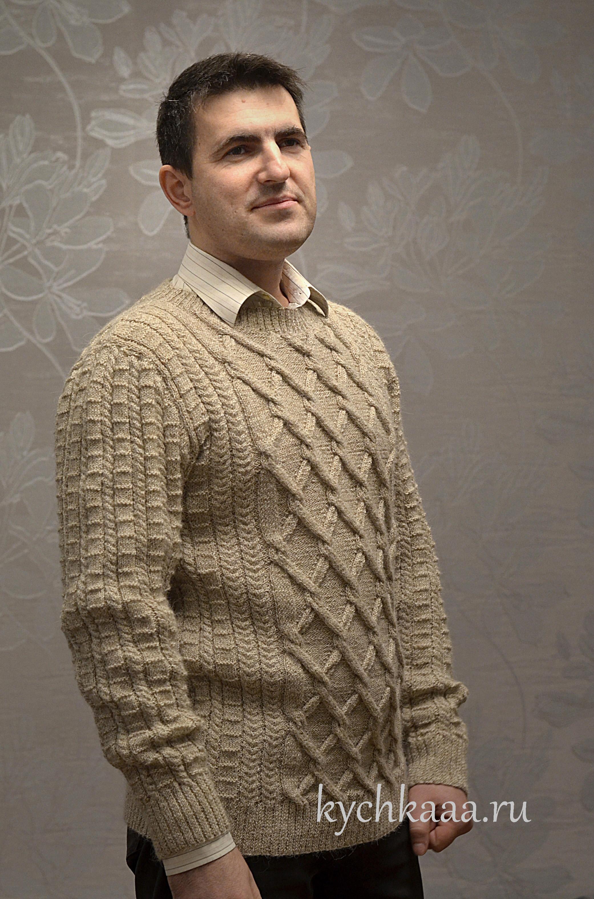 Вяжем свитер с узором косами