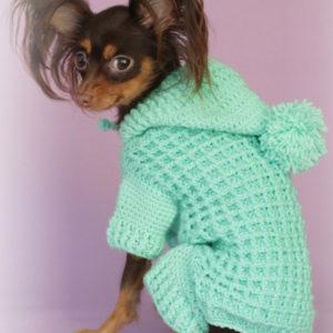 Вязаный вафельный костюм для собаки